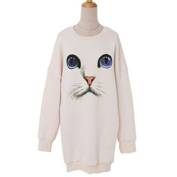 Cute Cat Face Print White Round Neck Package Hip Long Sleeve Women Casual Sweatshirt Shirt Top Blouse T-Shirt _ 1794
