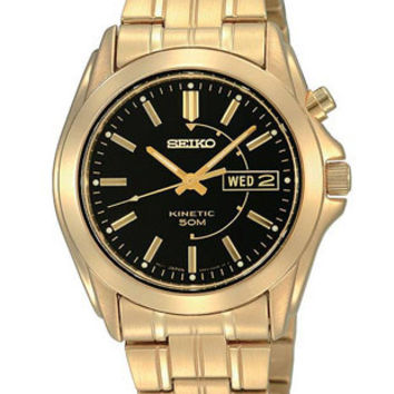 Seiko Mens Kinetic Gold-Tone Day Date Watch - Black Dial - 50 Meters
