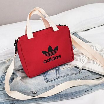 Adidas New fashion letter leaf print canvas shoulder bag handbag women Red