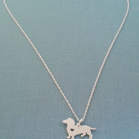 Dachshund Dog Necklace, Sterling Silver Doxie Personalize Pendant, Memory Silhouette Charm, Rescue Shelter