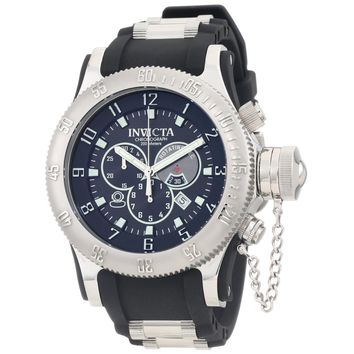 Invicta 0803 Men's Russian Diver Chronograph Black Dial Black Rubber Strap Dive Watch