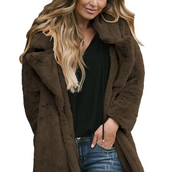 Coffee Pocketed Faux Fur Longline Coat