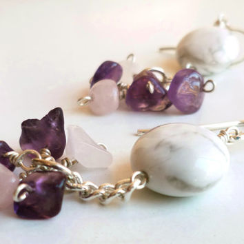 Amethyst earrings - Amethyst drop earrings - Gemstone jewelry - Rosequartz earrings - Sterling silver earrings - Bridal dangle earrings
