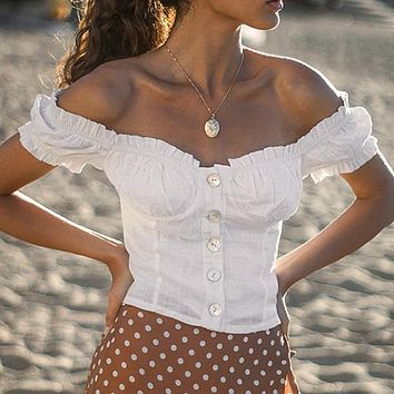 Sexy Off Shoulder Women Crop Tops Blouse Casual Ruffle Cotton Shirt Holiday Beach Short Blouse