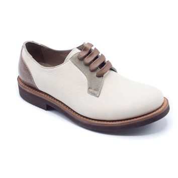 Brunello Cucinelli Beige Two-Toned Leather Oxfords Shoes