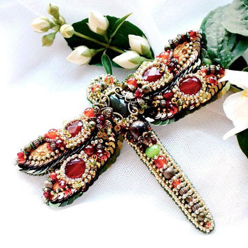 Dragonfly brooch. Bead embroidery nature, insect jewelry, dragonfly art, decorative jewelry, red green brown, big brooch, jeweled dragonfly