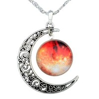Yantu Orange Women's Crescent Moon Galactic Universe Glass Cabochon Pendant Necklace Christmas Gift