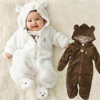 [S.Y.C] Newborn Coral Fleece Long Sleeve Hooded Romper, Baby Girls Boys Jumpsuit Autumn&winter Newborn Toddle Clothing