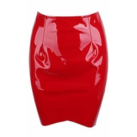 Seamless Attraction Latex PU Faux Leather Shiny Bodycon Mini Tulip Hem Skirt - 3 Colors Available