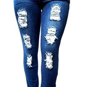 SL 1826 WOMENS PLUS SIZE Stretch Distressed Ripped BLUE SKINNY DENIM JEANS PANTS (18)