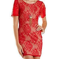 Plunging Back Bodycon Lace Dress