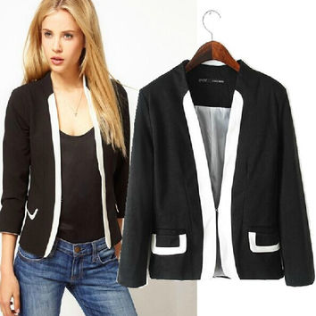 Stylish White Mosaic Slim Three-quarter Sleeve Blazer Women's Fashion Tops Jacket [4919049156]
