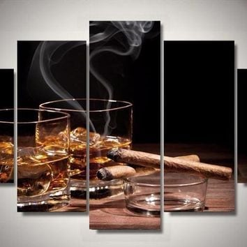 Drinks N Cigars 5-Piece Wall Art Canvas