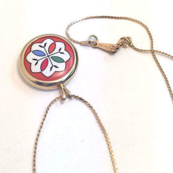 1980s Gold-Plated Alpine Flower Pendant Necklace