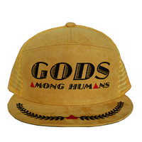 Gods Among Humans Trucker Hat in suede mustard