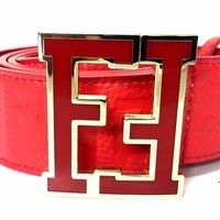 Fendi Belt | Size 36 or 90 cm | Red Leather | Red Buckle | FF Zucca