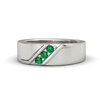 Men's Platinum Ring with Emerald | Slash Ring | Gemvara