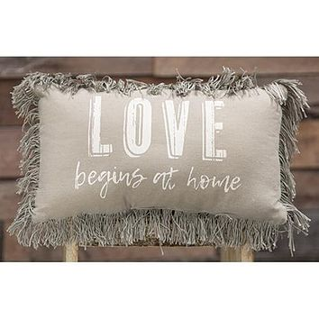 Love Begins At Home Grey Canvas Pillow