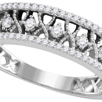 10kt White Gold Womens Round Diamond Filigree Symmetrical Band Ring 1/4 Cttw 109823