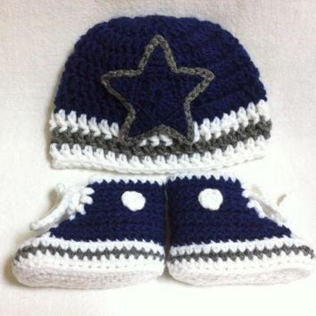 ONETOW dallas cowboys inspired converse and hat set preemie newborn 3 mos 3 6 mos cr