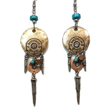 Tribal Gold, Copper and Turquoise Rhinestone Round 12GA Shotgun Shell Bullet Dangle Earrings - Boho Gold and Silver Bullet Dangle Earrings