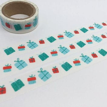 gift box washi tape 5M present box tape Thank you card birthday card sticker tape diary Japanese masking tape gift box wrapping tape