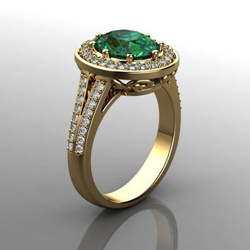 certified- green tourmaline diamonds engagement ring