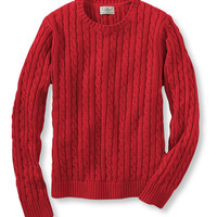 Double L Cotton Sweater, Long-Sleeve Cable Crewneck: Crewnecks | Free Shipping at L.L.Bean