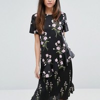 Warehouse Floral Printed Ruffle Midi Dress at asos.com