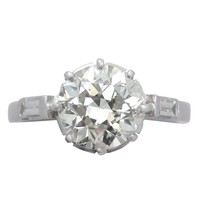 2.78 ct Diamond and Platinum Solitaire Ring - Art Deco Style