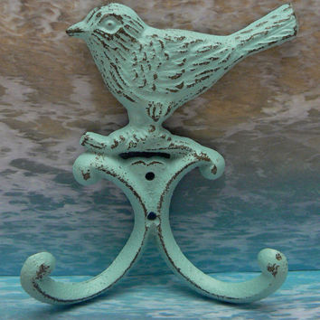 Bird Wall Hook Cast Iron Cottage Chic Shabby Distressed Light Beach Blue Double Splay Wall Hooks for Jewelry Hat Coat Key Scarf Leash Hook