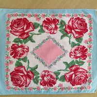 Vintage 40's Handkerchief Prettiest Painted Roses and Square Print