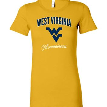 Official NCAA West Virginia University Mountaineers Hail WVU Gold Ladies Favorite Tee - SC18wv-a