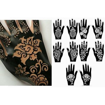 Henna Stencil Tattoo (10 Sheets) Self-Adhesive Body Art Templates Henna / Airbrush