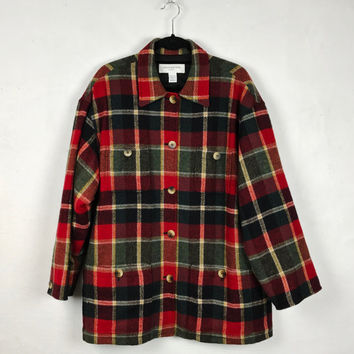 Vintage Oversized Plaid Wool Coat Jones New York Plus Size Trendy Fashion Jacket Coat Red Black Green Tartan Plaid Pattern Wool Long Coat