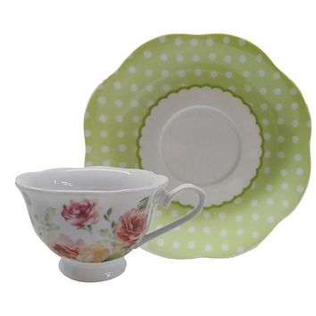 Cabbage Rose Porcelain Teacups Set of 6 Tea Cups Cheap Price Elegant Look! $5.95 Flat Rate Shipping Add 1 More Sets for FREE SHIPPING over $75!