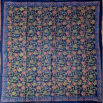 Block Print Cotton Floral Scarf 42 x 42 inches Blue Green Red