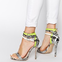Carvela Gaze Grey Leather Multi Strap Heeled Sandals