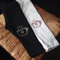 Hand Painted Childrens Leggings with Coffee Mug Design FREE SHIPPING