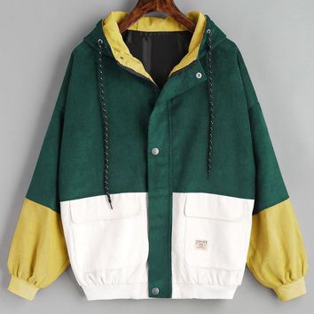 Kenancy Winter Warm Color Block Hooded Corduroy Jacket Drawstring Hit Color Patched Pocket Thick Basic Women Coat Harajuku New