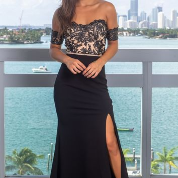 Black Embroidered Off Shoulder Maxi Dress with Jewel Detail