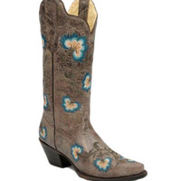 Womens Tobacco / Blue Flowers Embroidery Boot - R1206