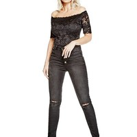 Dara Off-The-Shoulder Lace Bodysuit at Guess