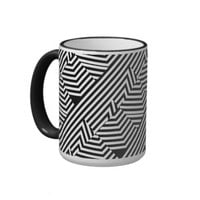 Trendy Black and White Geometric Stripes Pattern Ringer Coffee Mug