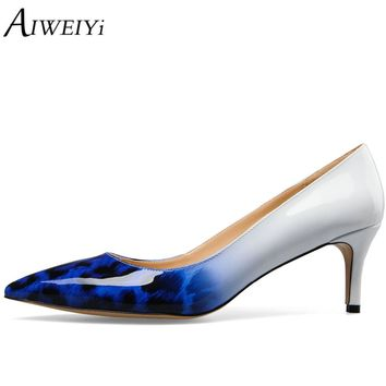 AIWEIYi Women's PU Leather Med Heels Pointed Toe Kitten Heels Gorgeous Pumps Party Stiletto Shoes Slip On Ladies Wedding Shoes