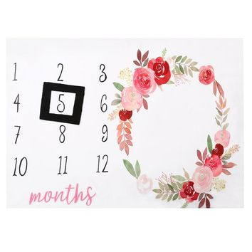 Calendar Flowers Printed Newborn Baby Blanket Swaddle Wrap Stroller Blanket Photography Props Background with Photo Frame