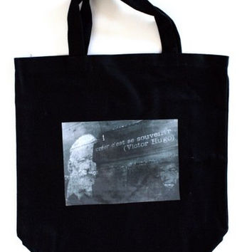 Canvas Bag with photo of Victor Hugo - Black Canvas Tote Bag