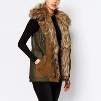 River Island Parka Gilet With Faux Fur Collar