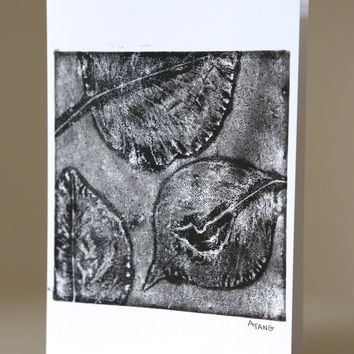 Fine Art Greeting Card, Black and White Artwork, Framable, Mono print