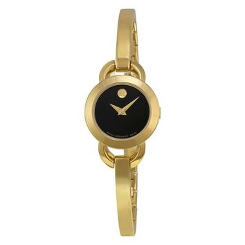 Movado Rondiro Black Dial Yellow Gold PVD Ladies Watch 0606888
